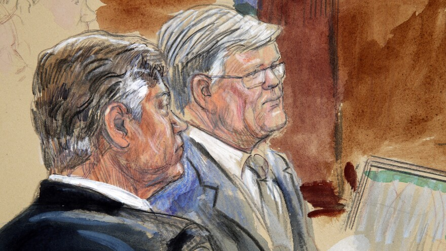 This courtroom sketch depicts former Donald Trump campaign chairman Paul Manafort, left, listening with his lawyer Kevin Downing to testimony earlier this week.