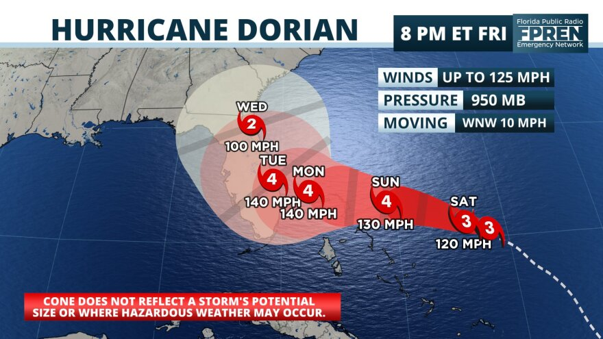 Hurricane Dorian has strengthened into a Category 4 storm with a continued track toward Florida. FLORIDA PUBLIC RADIO EMERGENCY NETWORK