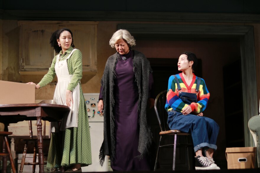 Xu Jingyao as Ruth (from left) Wang Qianhua as Lena and Xu Cenzi as Beneatha in <em>A Raisin in the Sun</em>.