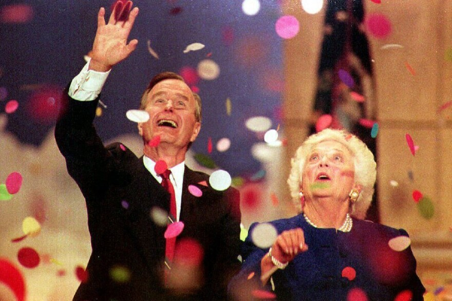 Then-President George H.W. Bush and first lady Barbara Bush play with confetti at the 1992 Republican National Convention in Houston. Bush went on to lose his bid for re-election to Bill Clinton.