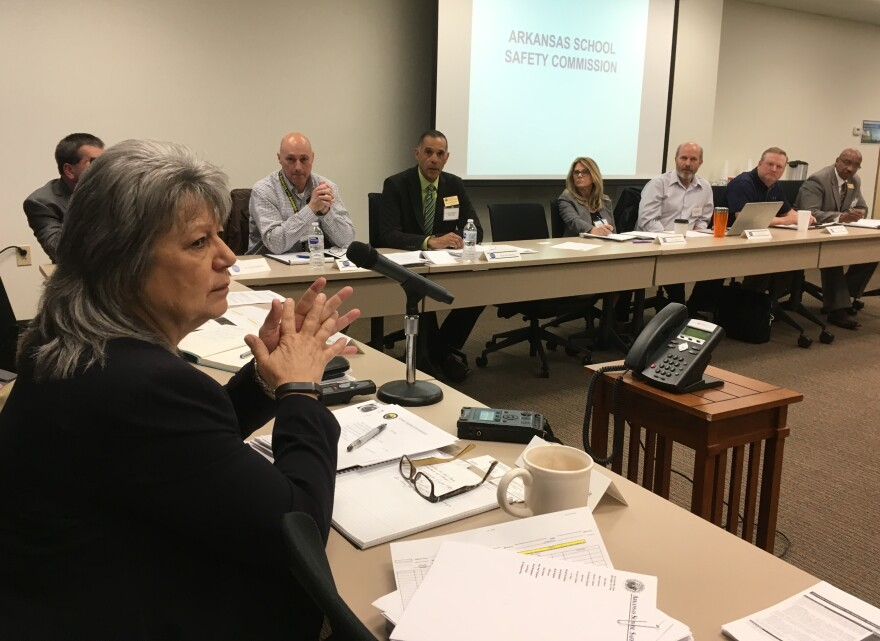 Dr. Cheryl May, chair of the Arkansas School Safety Commission, leads the panel's first meeting Tuesday.