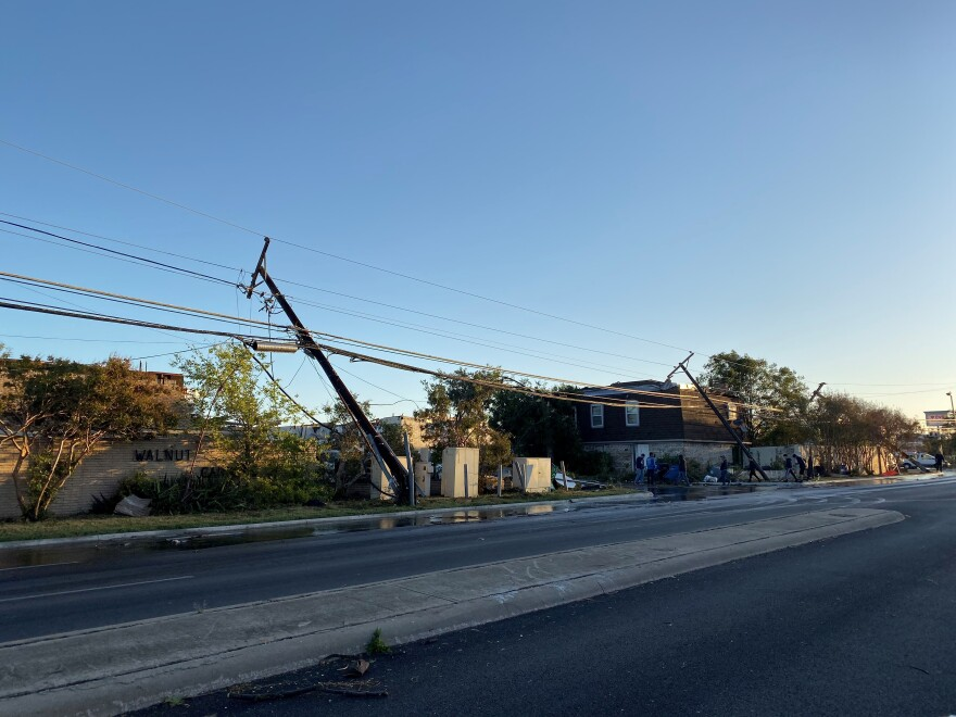 Power lines damaged in Northwest Dallas near Walnut Hill and Marsh Lane after Sunday's tornado.