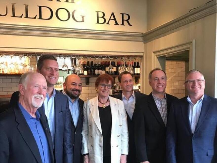 A photo featuring then-House Speaker Cliff Rosenberger (third from left) in London, which was posted to Leslie Gaines' Facebook account in August 2017.