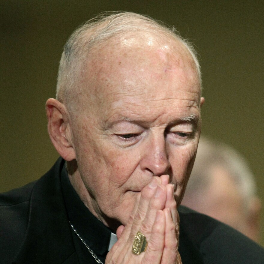 Cardinal Theodore McCarrick prays during the United States Conference of Catholic Bishops' annual fall assembly in 2011 in Baltimore. McCarrick was ordered by the Holy See to step down from public ministry as a result of an allegation of sexual abuse.
