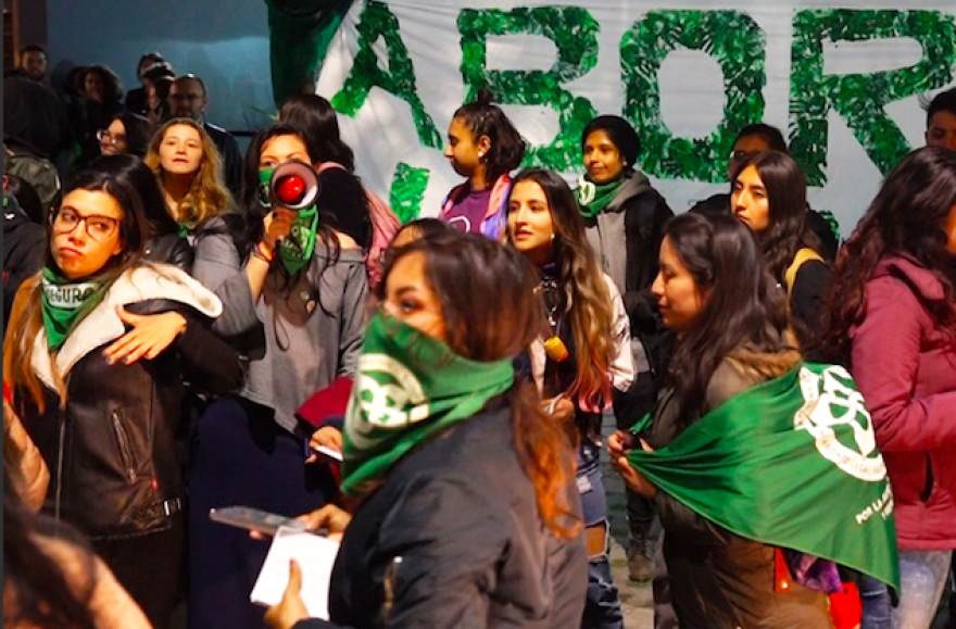 Pro-abortion rights activists demonstrate in Bogota, Colombia, last week in advance of their country's high court ruling on abortion legalization, expected this week.