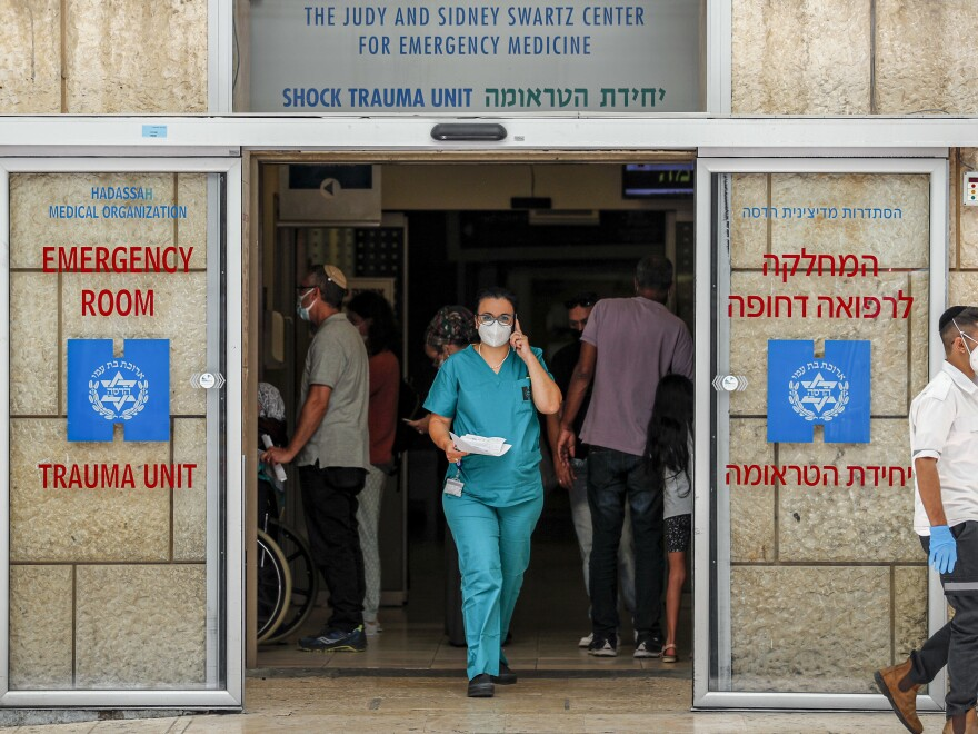 The emergency medicine center of Hadassah University Hospital Ein Kerem in Jerusalem, where senior Palestinian official Saeb Erekat is being treated, in a photograph taken on Monday.