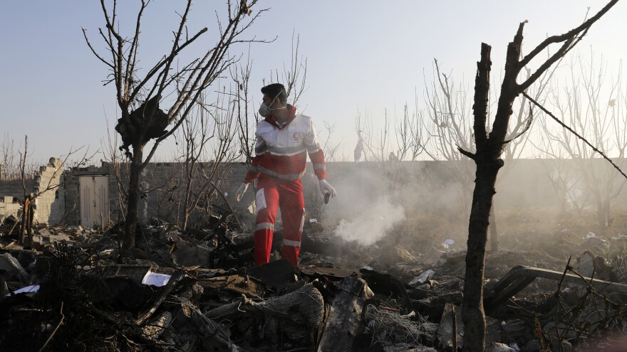 """A rescue worker searches the scene where a Ukrainian plane crashed near Tehran on Wednesday, killing all on board. Iran says the plane was shot down in an """"unforgivable mistake."""""""