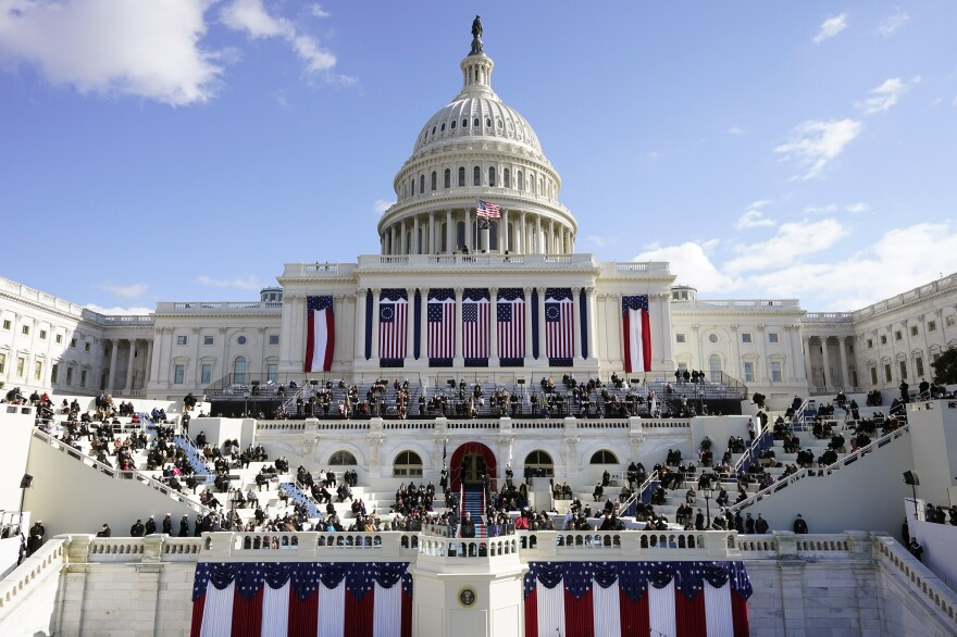 President Biden speaks on the West Front of the U.S. Capitol.