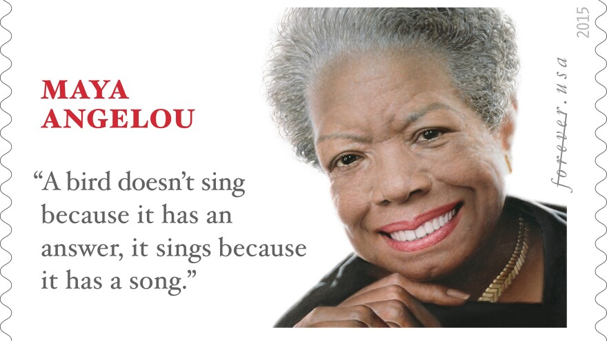 The celebrated poet Maya Angelou crafted a number of lines that have resonated with her readers — but the one on this stamp, it turns out, isn't one of them.