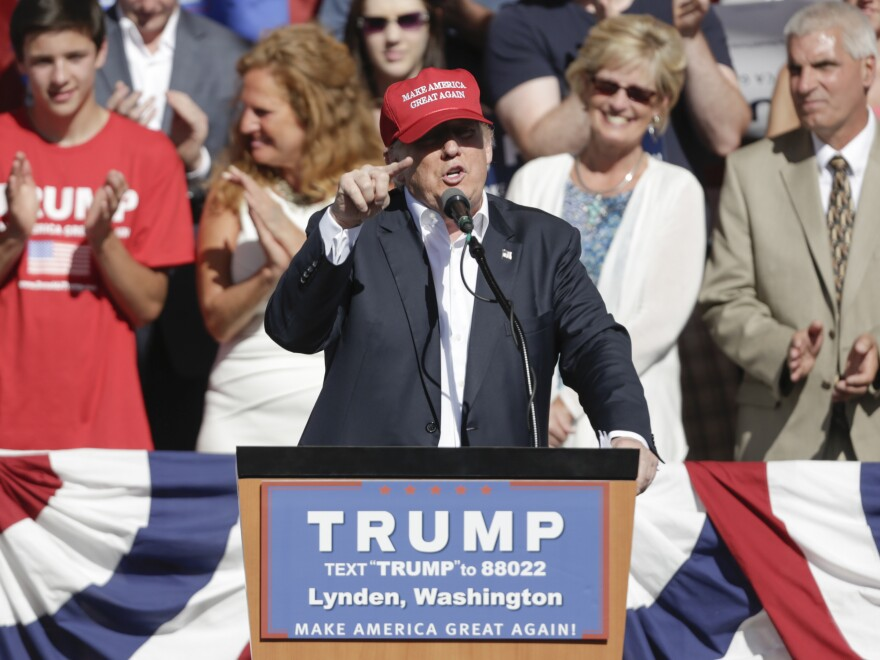Republican presidential candidate Donald Trump addresses a campaign stop at the Northwest Washington Fair and Event Center in Lynden, Wash.