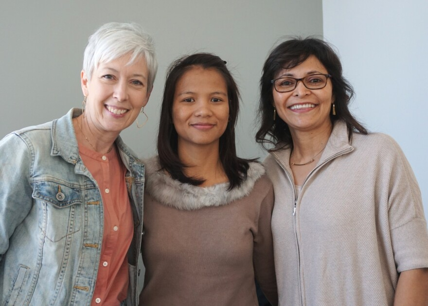 """(L-R) Jennifer Owens, Ning Lun and Luzmila Buechler joined Thursday's """"St. Louis on the Air"""" to talk about Forai's efforts to help connect St. Louisans with refugees."""