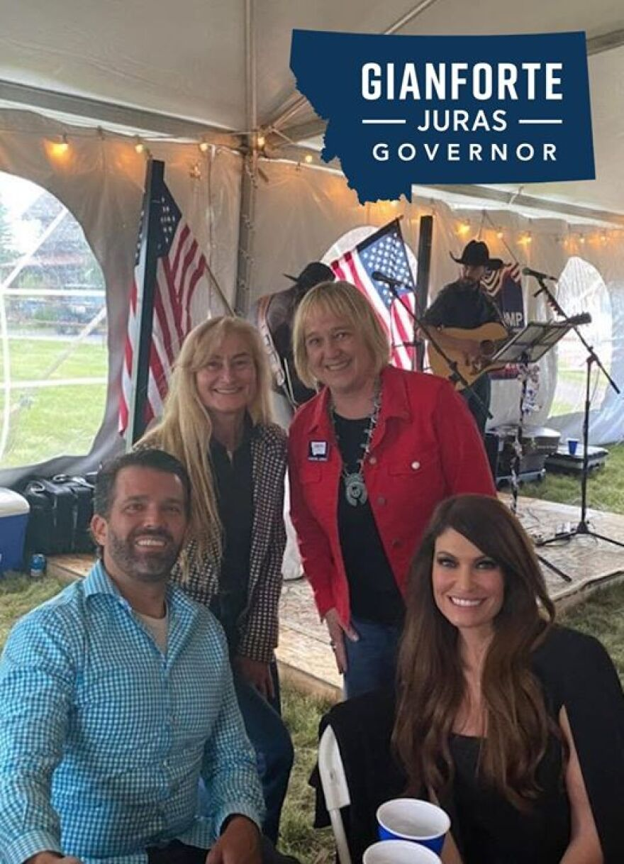 Donald Trump, Jr., Susan Gianforte, Kristen Juras and Kimberly Guilfoyle at a fundraising event at Lone Mountain Ranch on June 30, 2020.