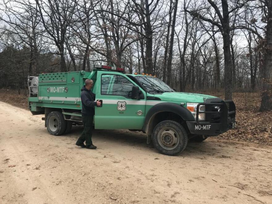 Small fire engines like this one can put out most fires in the Mark Twain National Forest because they are visible from a distance. But sometimes, a leaf blower can do the trick.