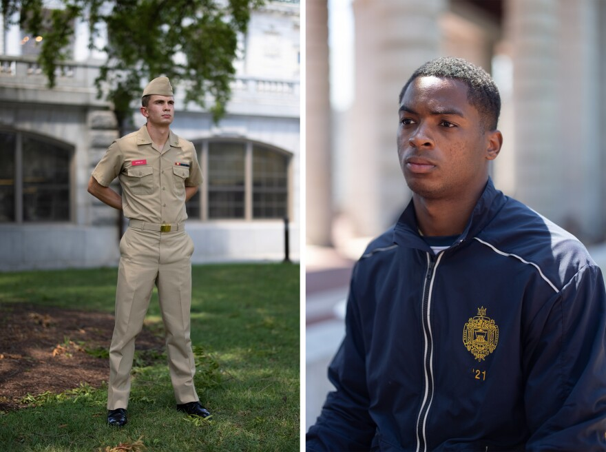 Rising senior Corwin Stites (left) is a plebe summer detailer at the Naval Academy. He returned to campus in early July. Rising senior Cameron Kinley (right) is class president and a member of the Navy football team.