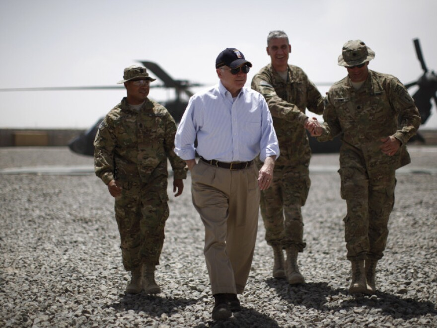 U.S. Secretary of Defense Robert Gates arrives at Combat Outpost Andar in Ghazni province on June 6, as part of a two-day farewell trip to Afghanistan before he steps down from his post.