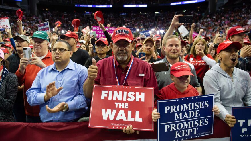 """Supporters cheer as Trump speaks during the rally. If Cruz had not made up with Trump, there could have been consequences, said one supporter. """"I might have stayed home."""""""