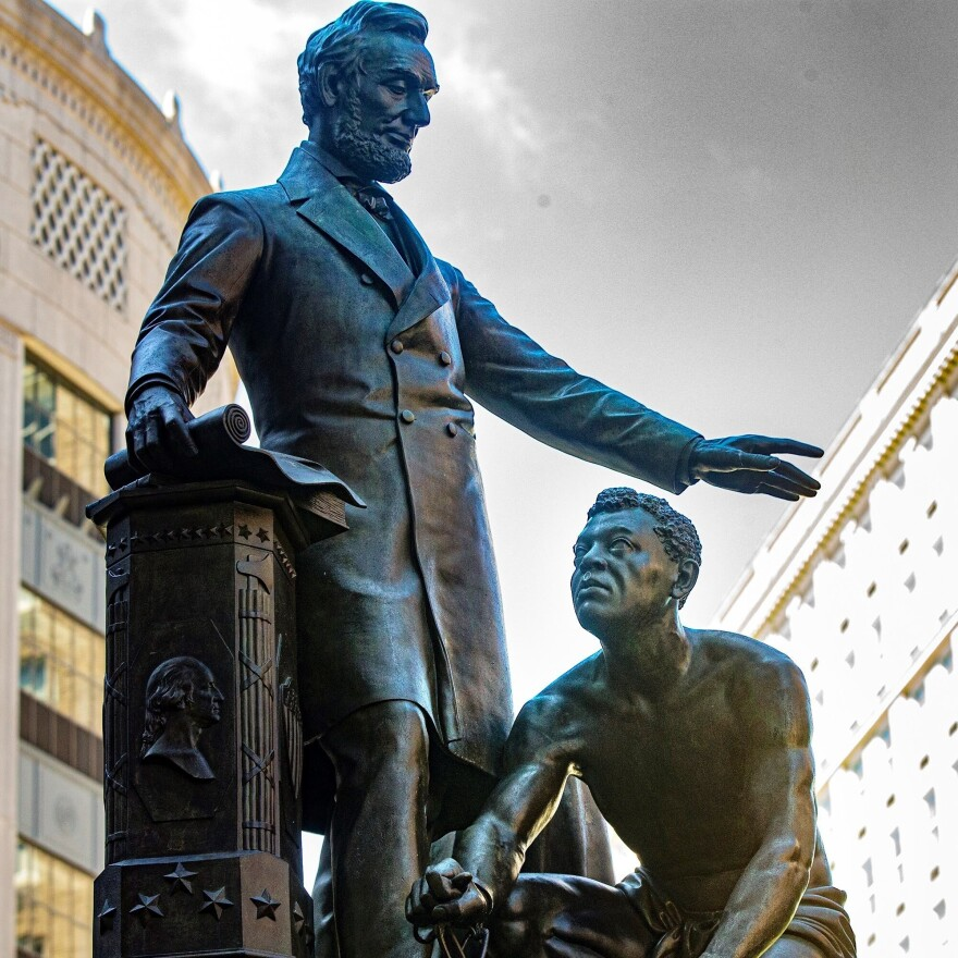 Boston officials have decided to remove the Emancipation Memorial, which has stood in Park Square since 1879. It depicts a formerly enslaved man kneeling before Abraham Lincoln.