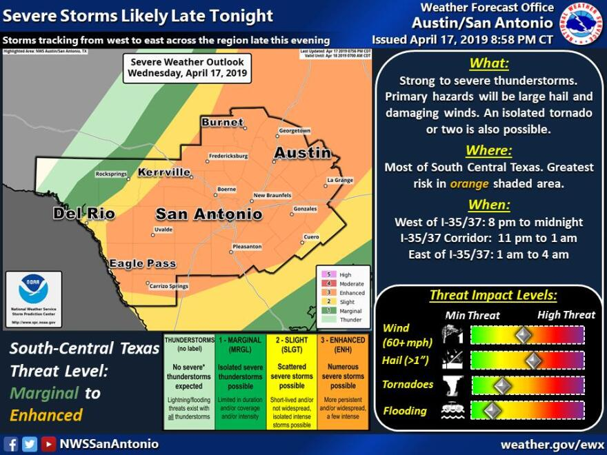 "The National Weather Service placed Austin in the ""enhanced risk"" area for tonight's storms."