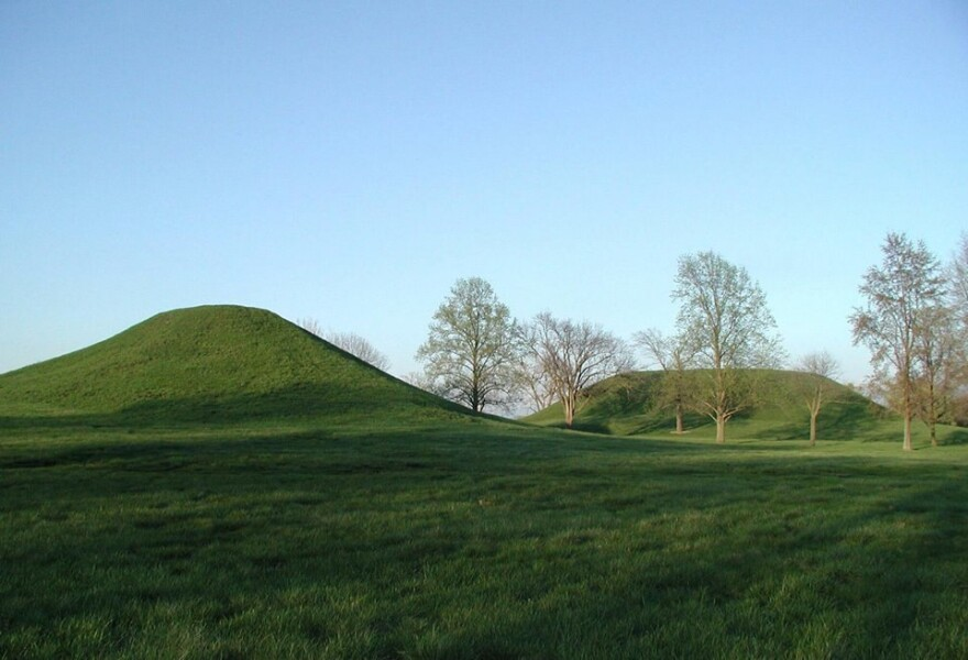 Two of more than 70 ancient mounds protected at Cahokia Mounds State Historic Site.