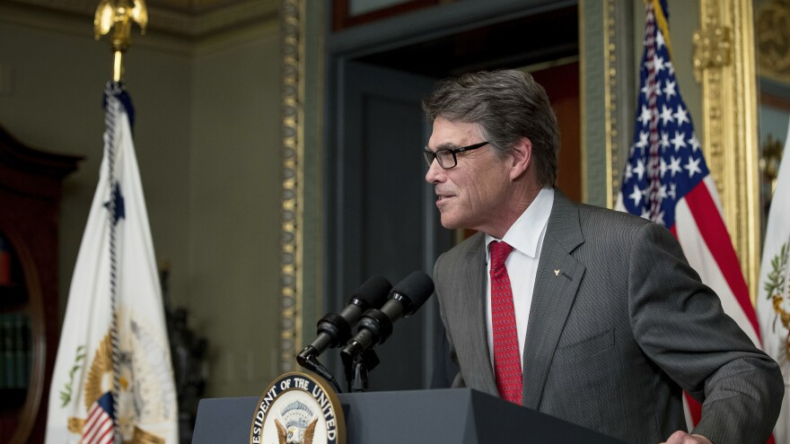 Energy Secretary Rick Perry was sworn in Thursday, apparently having come to terms with heading the agency he once wanted to abolish.