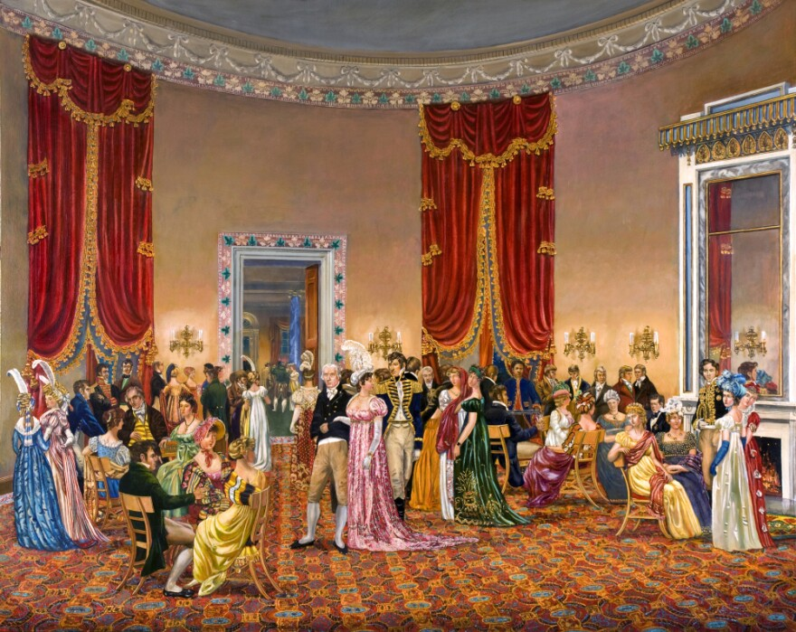 """In <em>The Splendid Mrs. Madison</em>, Waddell depicts First Lady Dolley Madison's drawing room, circa 1810–1814. Benjamin H. Latrobe designed the space — but wasn't happy with the curtains: """"Oh the terrible velvet curtains!"""" he wrote. """"Their effect will ruin me entirely so brilliant they will be."""" <a href=""""http://bit.ly/jAA0Ay""""><strong>Click here to explore the painting.</strong></a>"""
