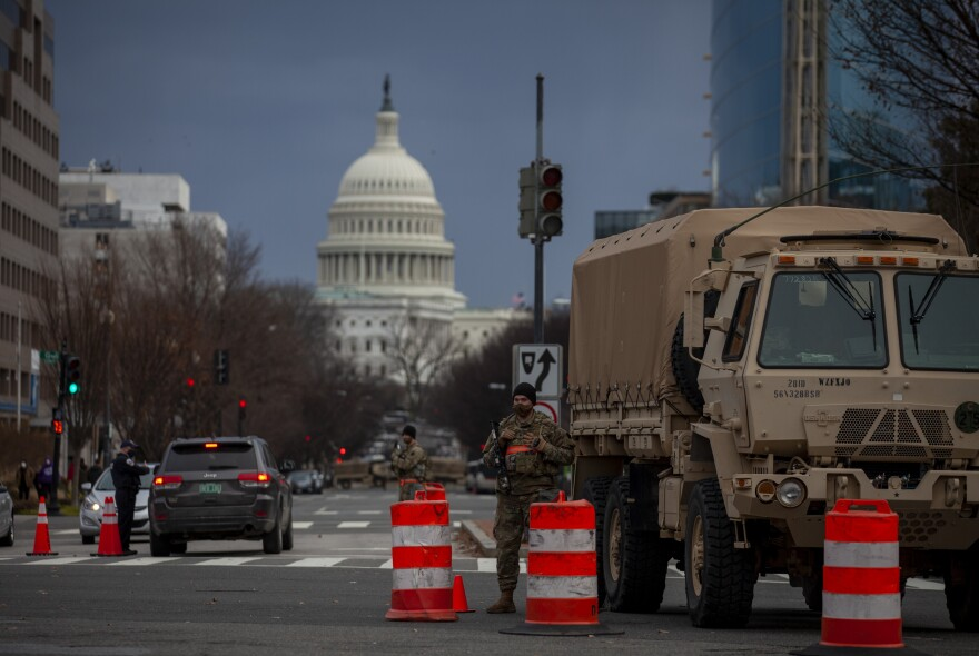One of the many security checkpoints in Washington, D.C. ahead of the inauguration ceremony on Wednesday.