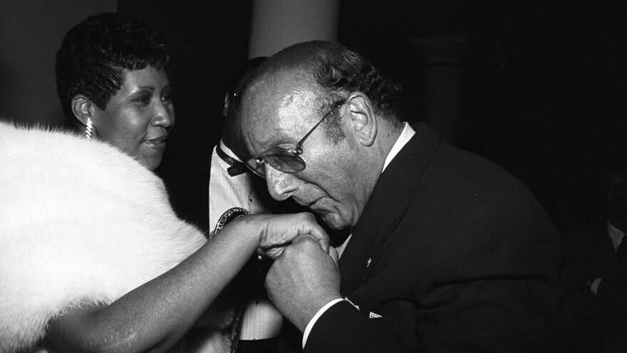 Aretha Franklin and Clive Davis, at a party in July 1989 in New York.