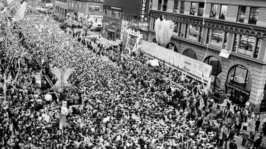 Tens of thousands of people gather on 37th Street in New York City to see Democratic presidential nominee Walter Mondale and his running mate, Geraldine Ferraro, on Nov. 1, 1984.