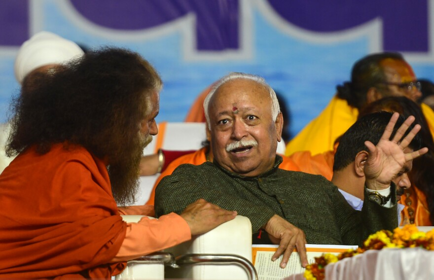 RSS chief Mohan Bhagwat attends the Kumbh Mela festival in Allahabad in January.