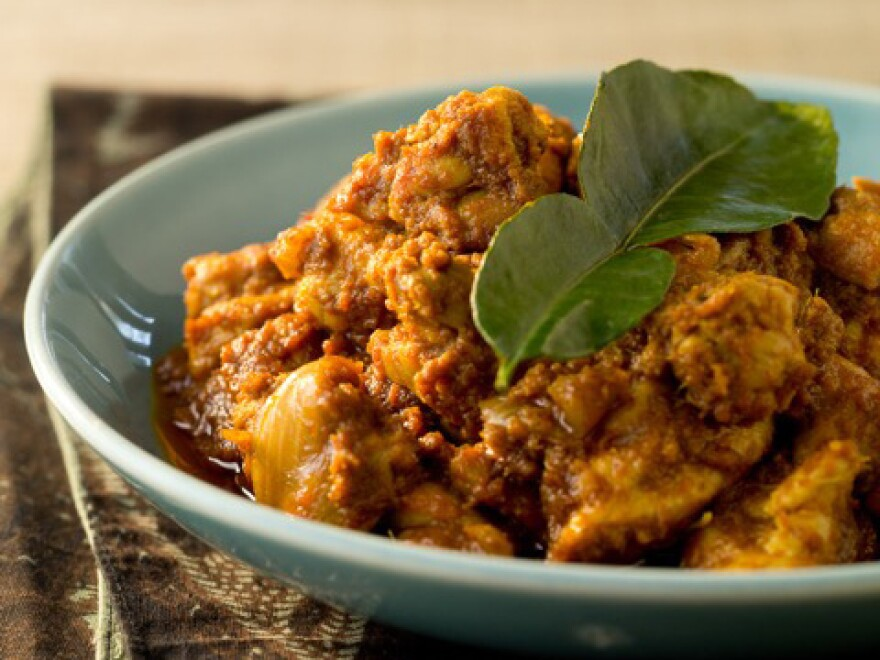 "Malaysian rendang is not simply a popular dish — it is a national treasure. It's a ""low and slow"" dish, in which the meat is cooked in highly spiced coconut milk for several hours. It's never supposed to be crispy, despite what <em>MasterChef UK</em> judges might think. Above, chef Christina Arokiasamy's chicken rendang."