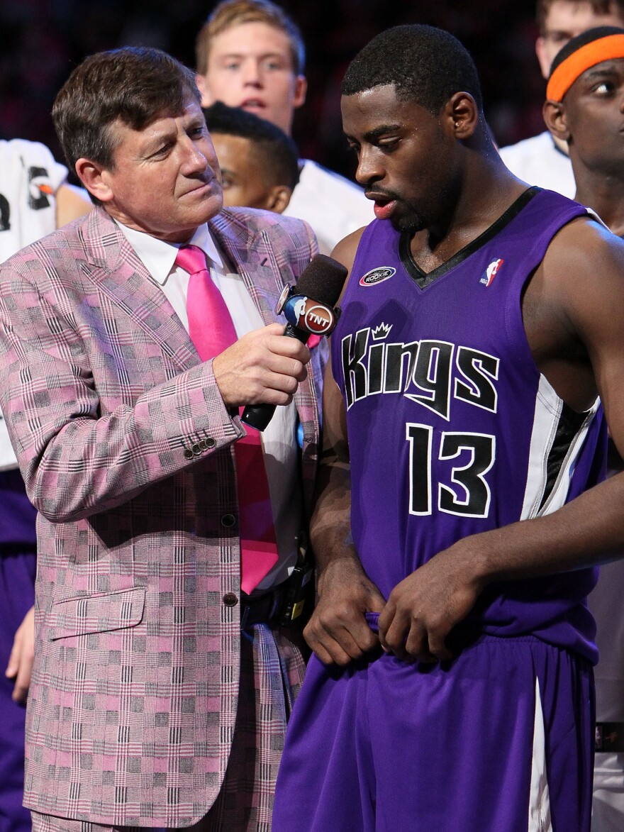 Once Sager's worn an outfit at the All-Star Weekend, he tries not to wear it again on TV. In 2010, he wore this pink-checked suit to the Rookie Challenge, where he interviewed Tyreke Evans.