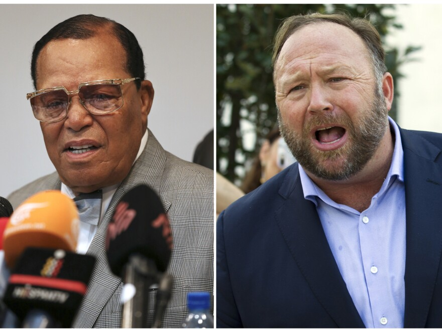 This combination of 2018 file photos shows minister Louis Farrakhan, the leader of the Nation of Islam, and conspiracy theorist Alex Jones. Facebook has banned their accounts for violating its rules against hate speech.