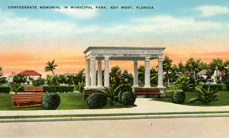 A historic postcard shows the pavilion in a Key West park dedicated in 1924 to soldiers and sailors of the Confederacy.