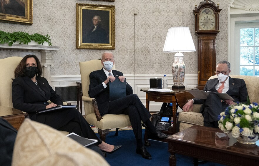 President Biden and Vice President Harris meet with Senate Majority Leader Chuck Schumer and other Democratic senators Wednesday to talk about Biden's $1.9 trillion COVID-19 relief proposal.