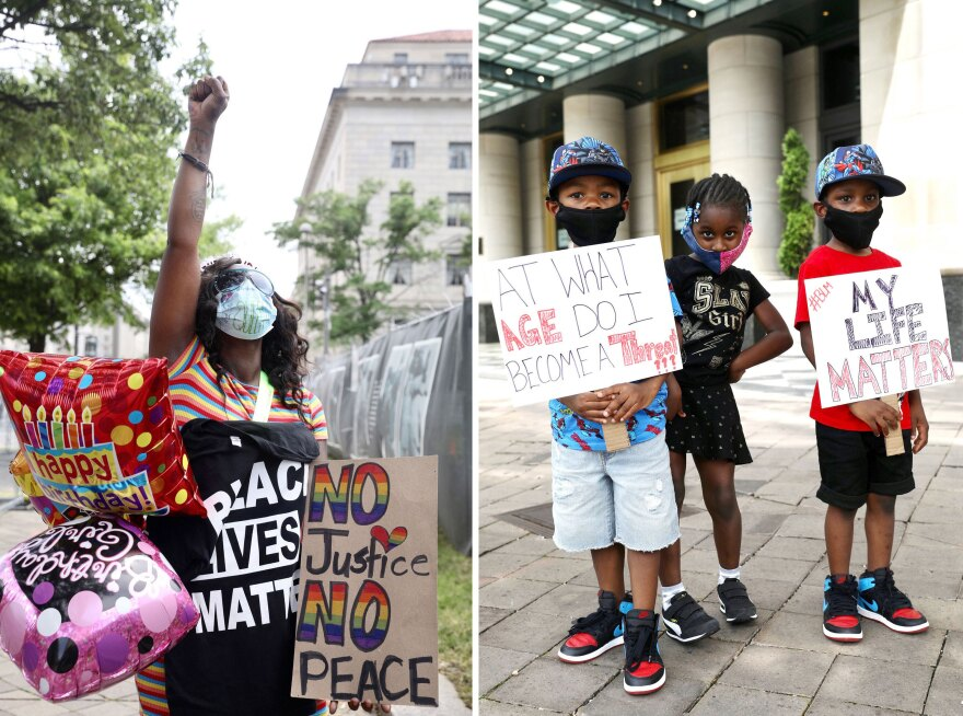 "Left photo: Sky Vang of Washington, D.C., marked her birthday Saturday. ""I gotta celebrate my birthday this way because I may not get another,"" she said. Right photo: Davian Rasberry, left, Joy Davis, middle, Deshawn Raspberry, right, were passing out supplies and water to demonstrators."