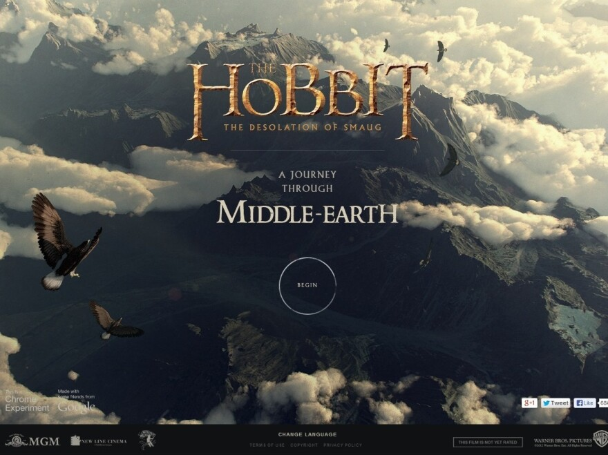 """<a href=""""http://middle-earth.thehobbit.com/"""">Click here</a> to tour Middle-Earth."""