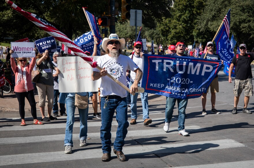 <strong>AUSTIN, TEXAS:</strong> Trump supporters rally outside of the Texas State Capitol building.