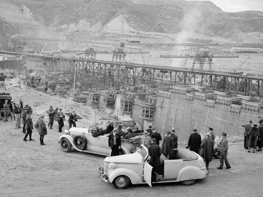 President Franklin Roosevelt at the Grand Coulee Dam site, a WPA project, in Washington in Oct. 1937, as part of an inspection tour.