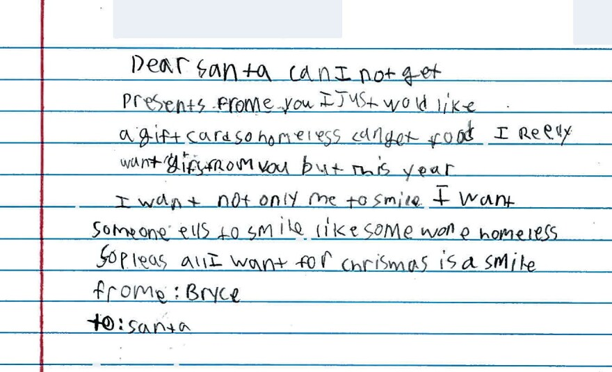 "All Bryce wants from Santa this year is ""a smile."""