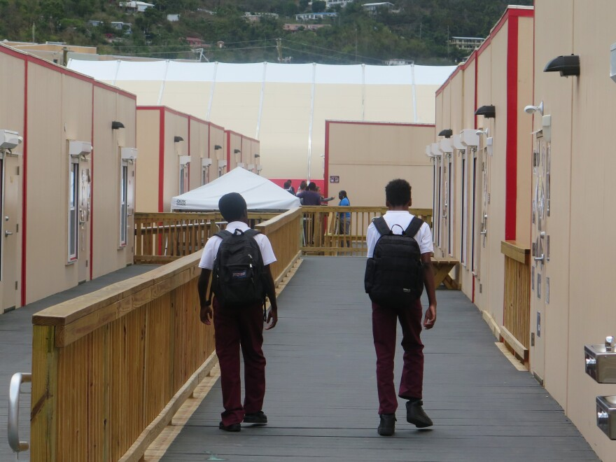 After a year of shortened classes, students at Cancryn Junior High School are now back to full days in temporary modular classrooms.
