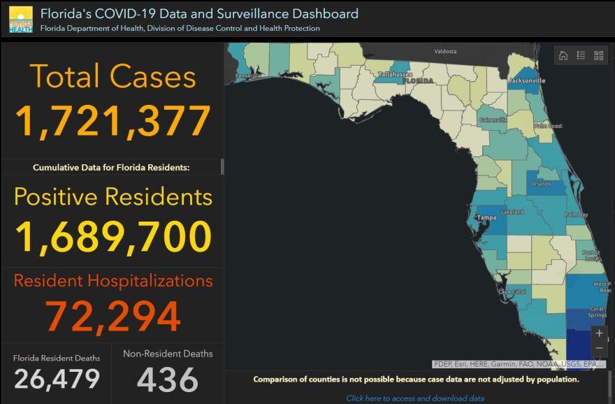 State's coronavirus dashboard from Jan. 31, 2021