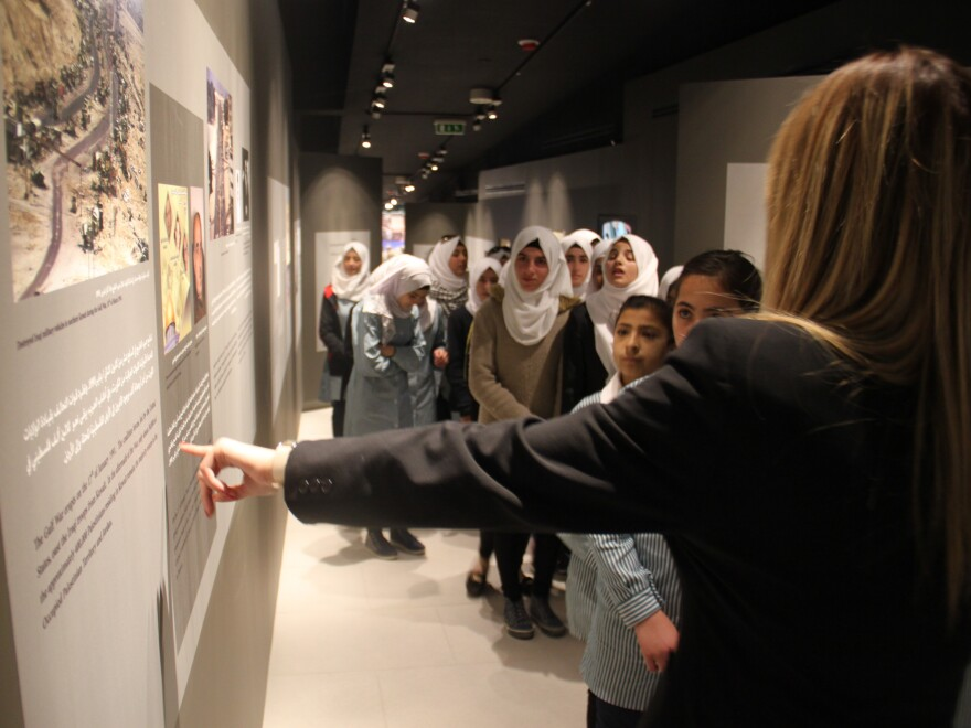Schoolchildren visit the new Arafat Museum.