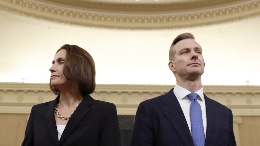 Former White House national security aide Fiona Hill and David Holmes, a U.S. diplomat in Ukraine, return from a break to continue their testimony before the House Intelligence Committee on Thursday.