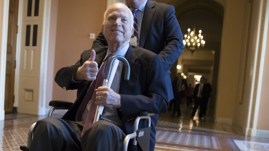 "John McCain at the Capitol in December 2017. In one of his final floor speeches, McCain bemoaned the current state of politics. ""Stop listening to the bombastic loudmouths on the radio and television and the Internet ... "" he said. ""Our incapacity is their livelihood."""