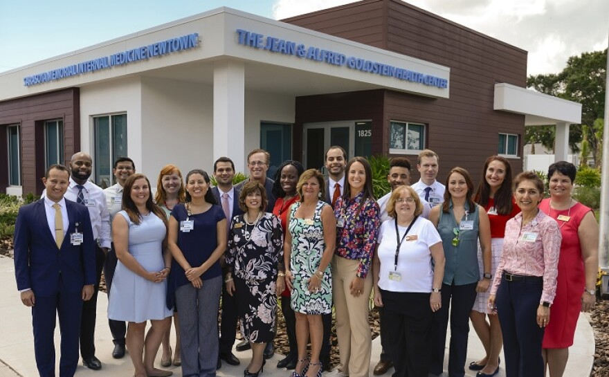 Staff at the opening of the new Jean and Alfred Goldstein Health Center in Newtown.