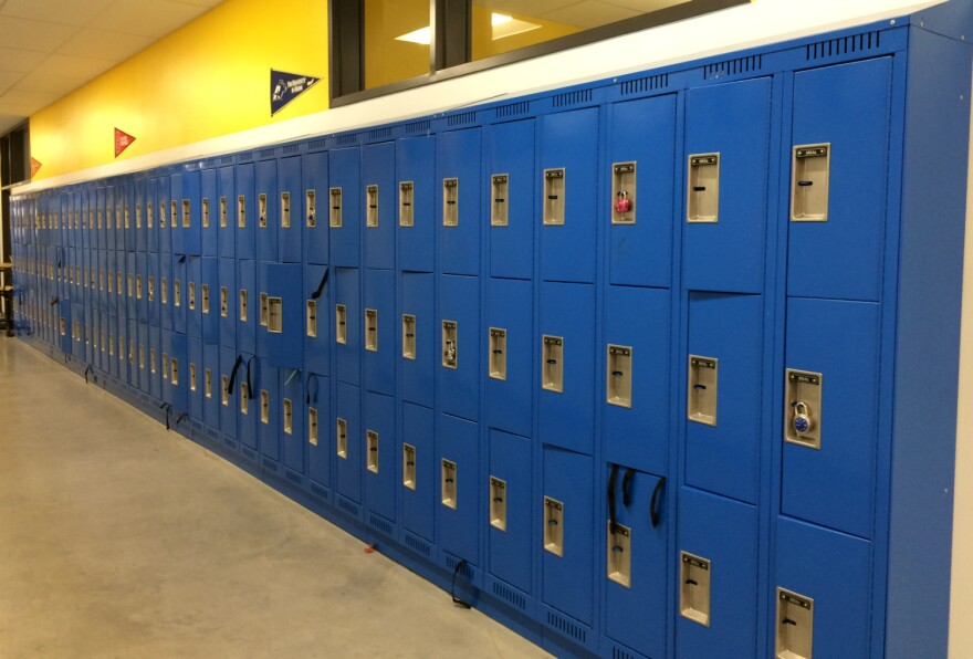 School lockers in a charter school hallway in November 2017.
