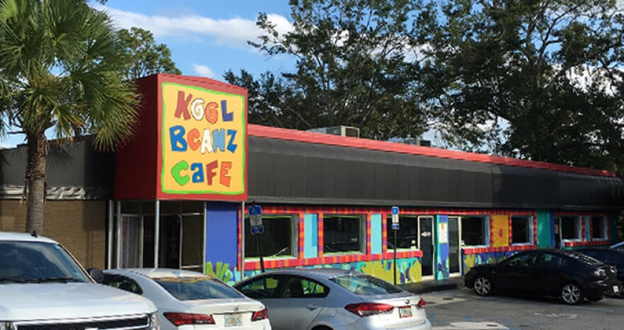 Outside of Kool Beanz Cafe in Tallahassee, Florida.