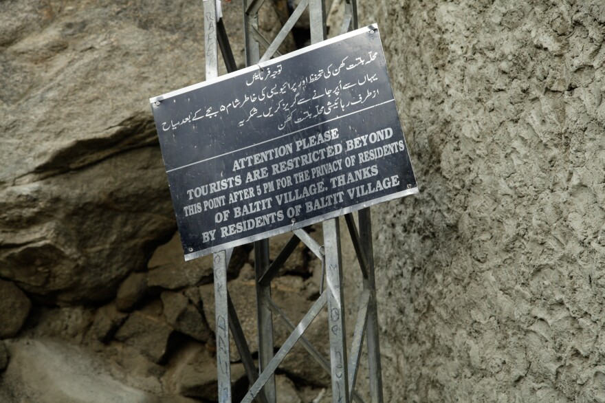 Signs abound through heavily-visited tourist areas in far northern Pakistan urging tourists to not take photos, to clean up their trash and to not enter residential areas.