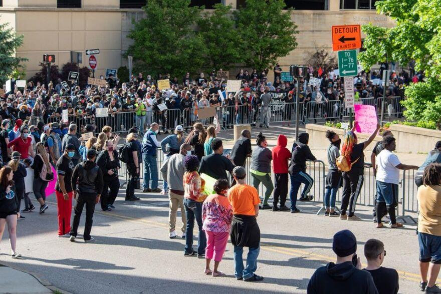 protestors near the police station