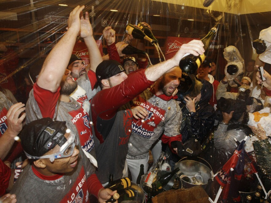 <p>Celebration: The St. Louis Cardinals spray Champagne after Game 7 of baseball's World Series against the Texas Rangers in St. Louis.</p>